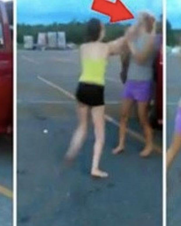 Southern Girls Cat Fight In Walmart Parking Lot, Bully Suffers Shocking Wardrobe Malfunction Promo Image