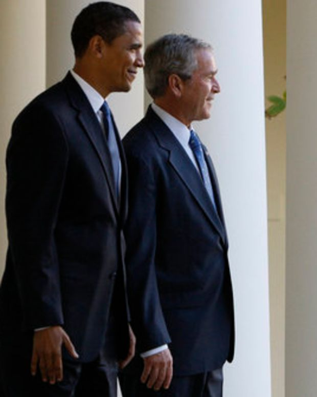 Barack Obama and George W. Bush.