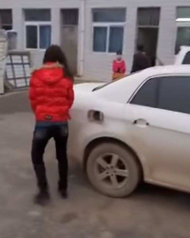 Wife Smashes Husband's Car.