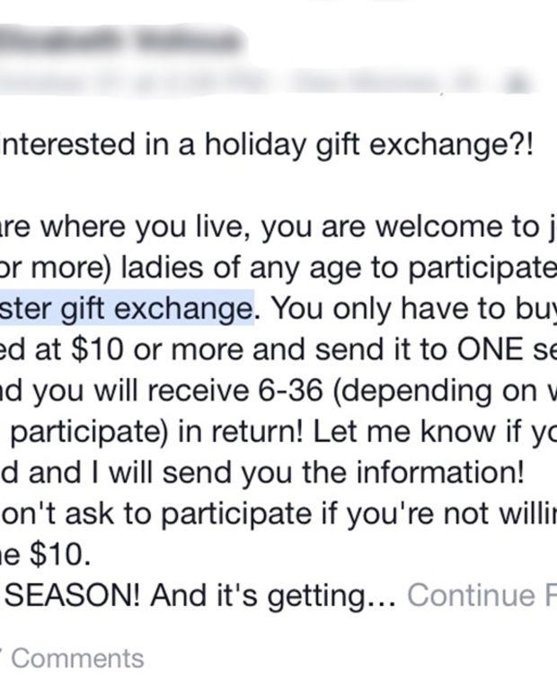 "Facebook post advertising the ""secret sister gift exchange"" scam"