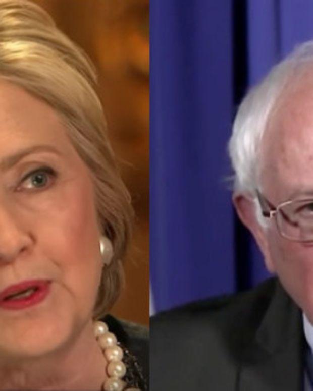 Clinton, Sanders Take Turns Blasting Trump (Video) Promo Image
