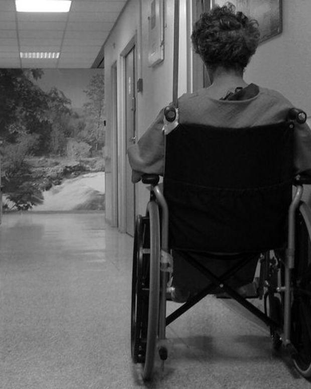 Elderly Woman in Wheelchair.