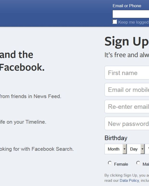 Facebook log-in page