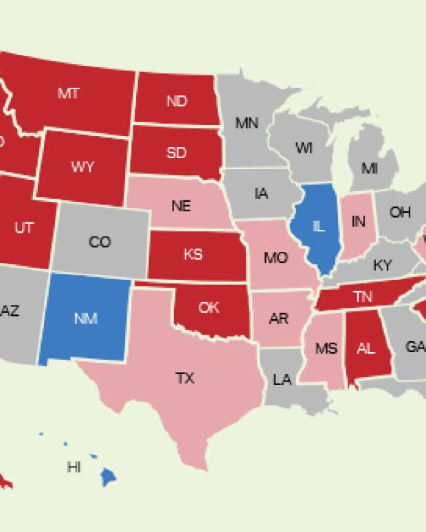 map showing red states and blue states in the U.S.