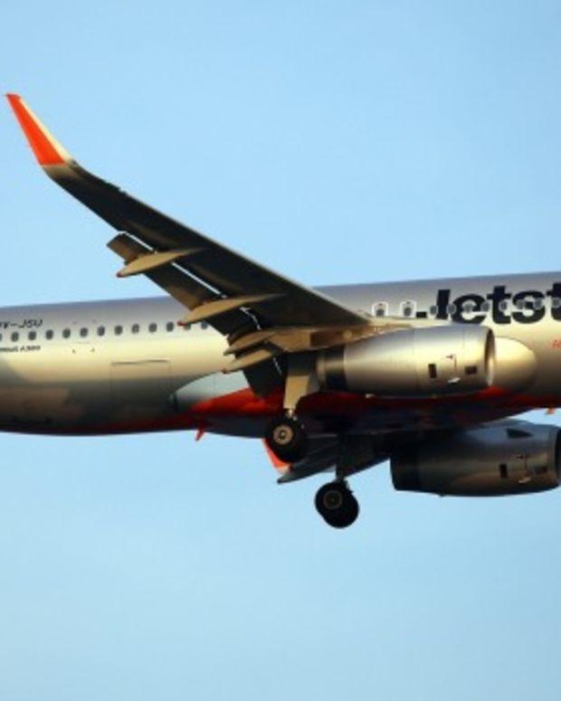 Jetstar plane in mid-air