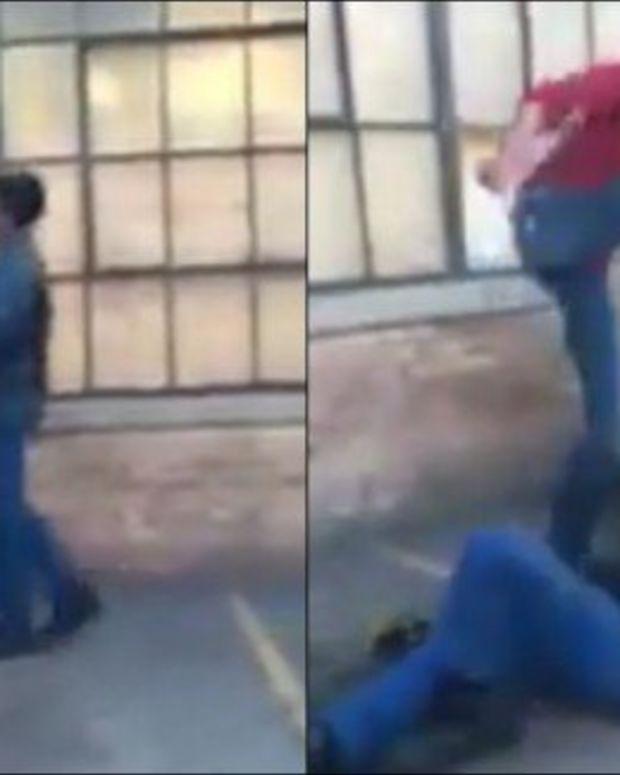 Woman Beating Man.