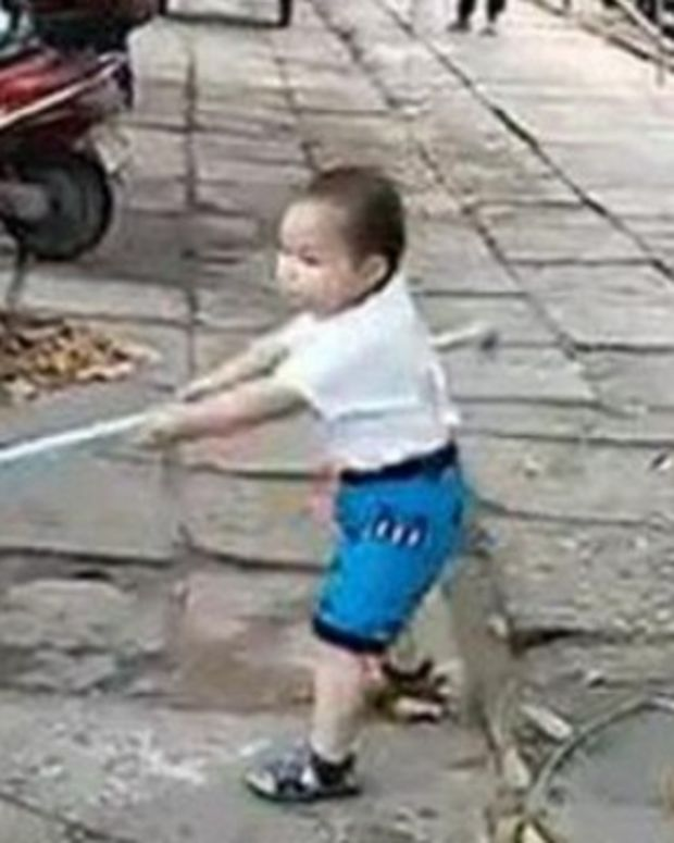 Toddler Defends Grandmother With Metal Pipe (Video) Promo Image