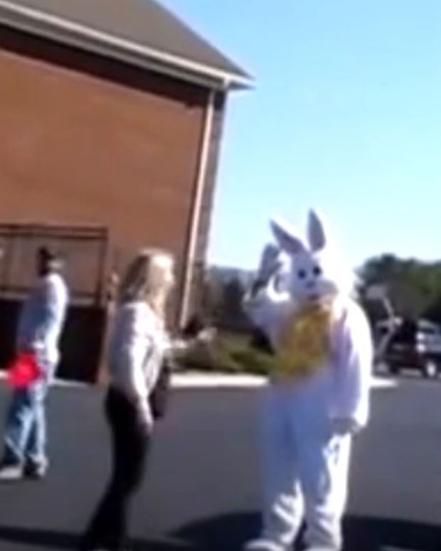 Christian Woman Screams At Easter Bunny (Video) Promo Image