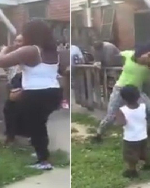 Woman Drops Child While Fighting (Video) Promo Image