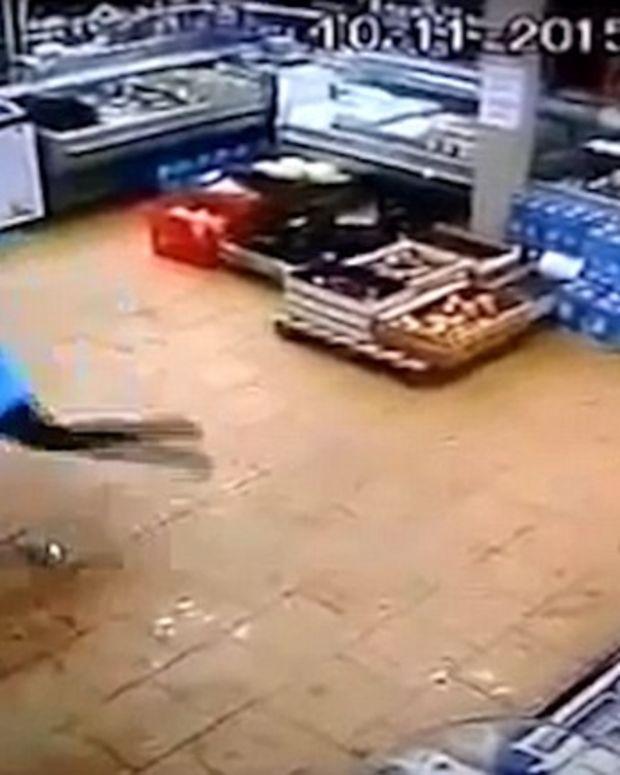 A Russian Mother Kicks Her Son.