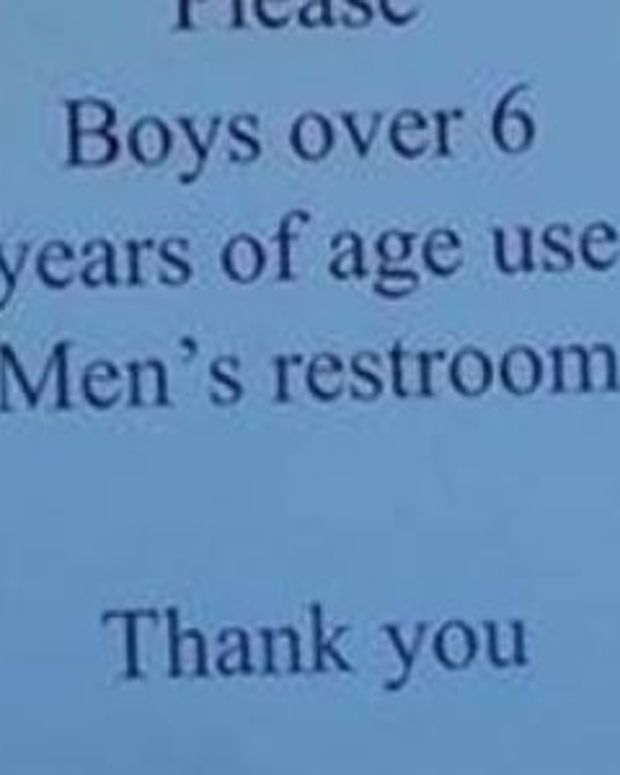 Sign In Mall Restroom Sparks Outrage Among Parents (Photo) Promo Image