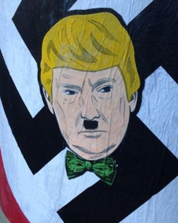 Graffiti depicting Donald Trump as Adolf Hitler