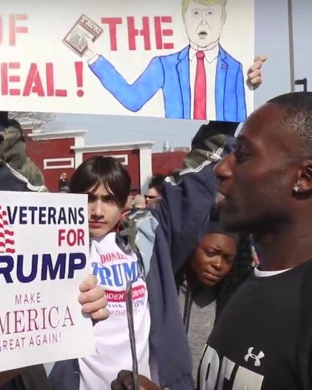 Black Man Offers Hugs At Sanders, Trump Rallies (Video) Promo Image