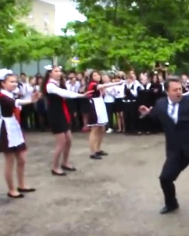 Principal Joins Students In Flash Mob Dance (Video) Promo Image