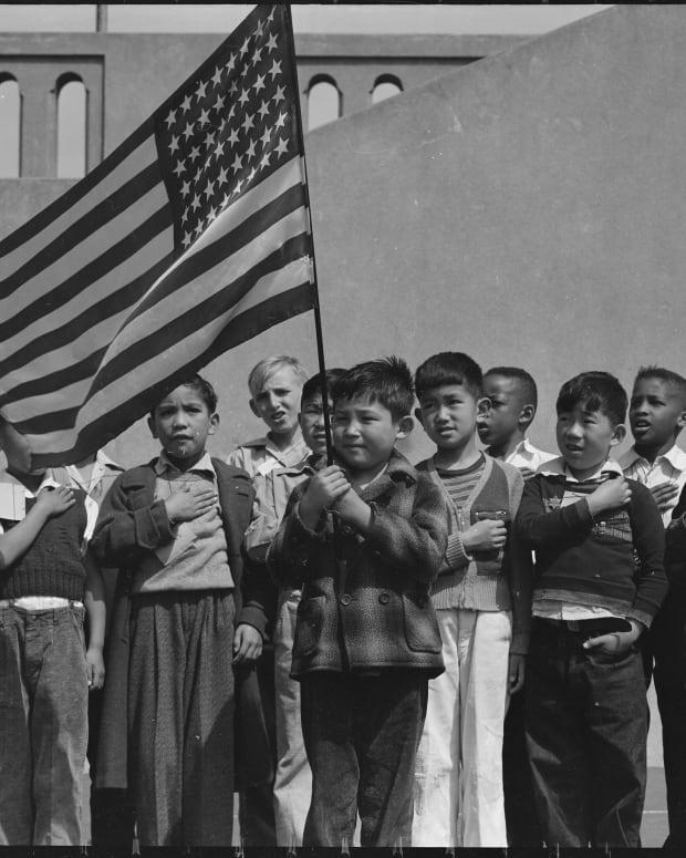 San Francisco school children recite the Pledge of Allegiance in 1942