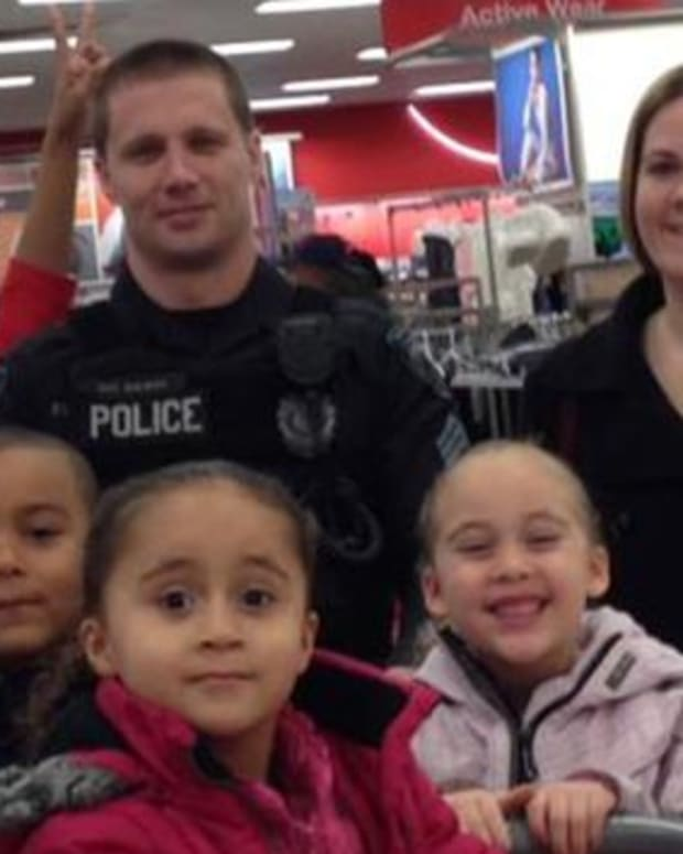Brewer and family at target