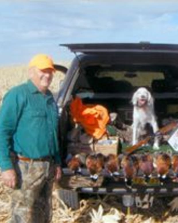 A man and dog duck hunting