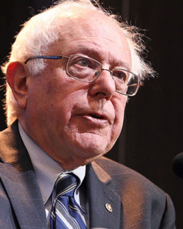 Bernie sanders making a point