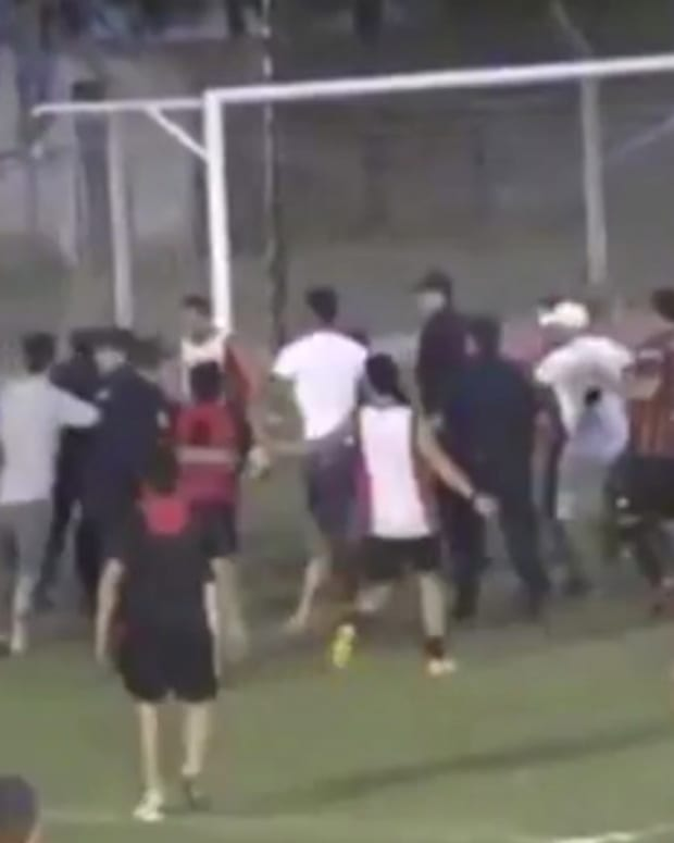 Soccer Fans Attack Referees On Field (Video) Promo Image