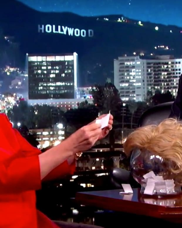 Hillary Reads Trump's Quotes On Kimmel (Video) Promo Image