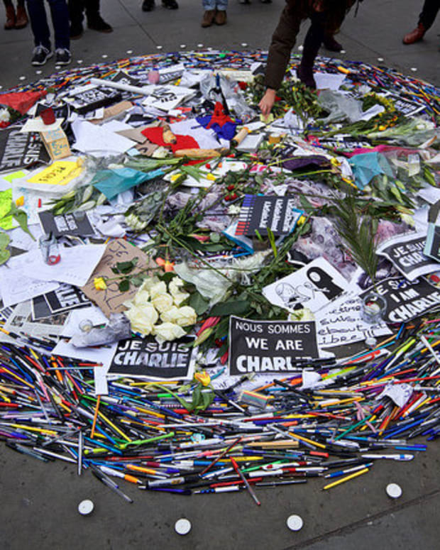 A Pile Of Condolences For Charlie Hebdo After The January Attack