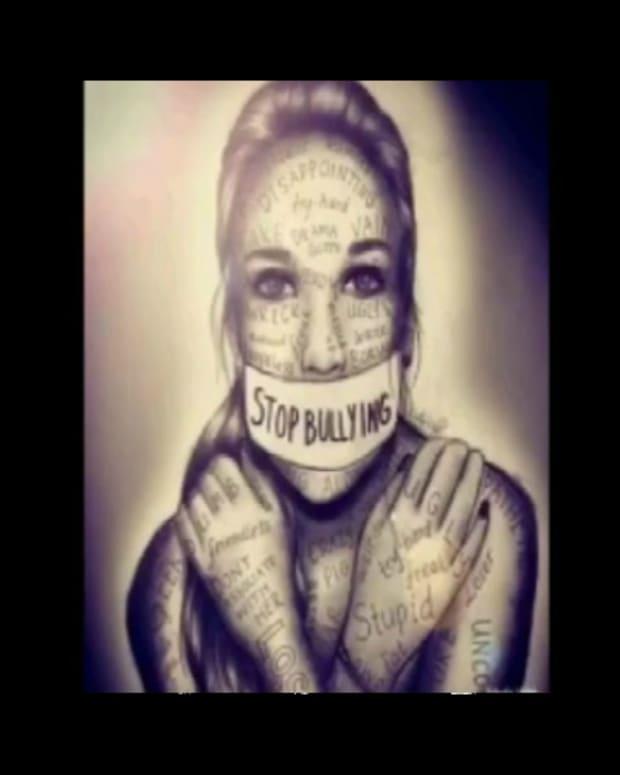 "Drawing of young woman who has tape over her mouth with ""Stop Bullying"" written on it"