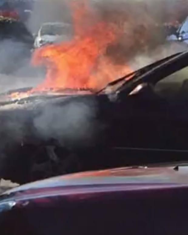 Carter's Car On Fire.