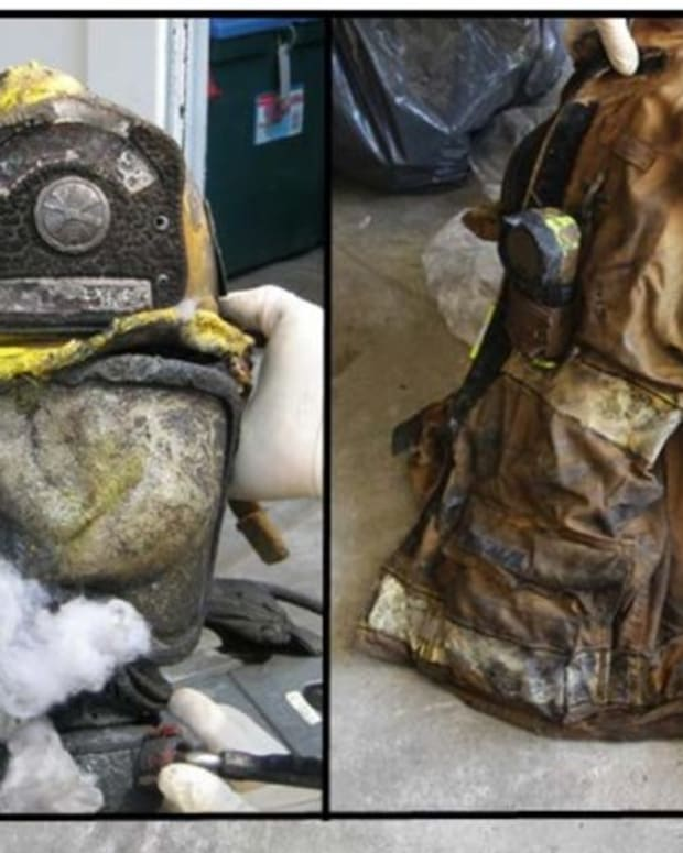 Charred firefighting attire