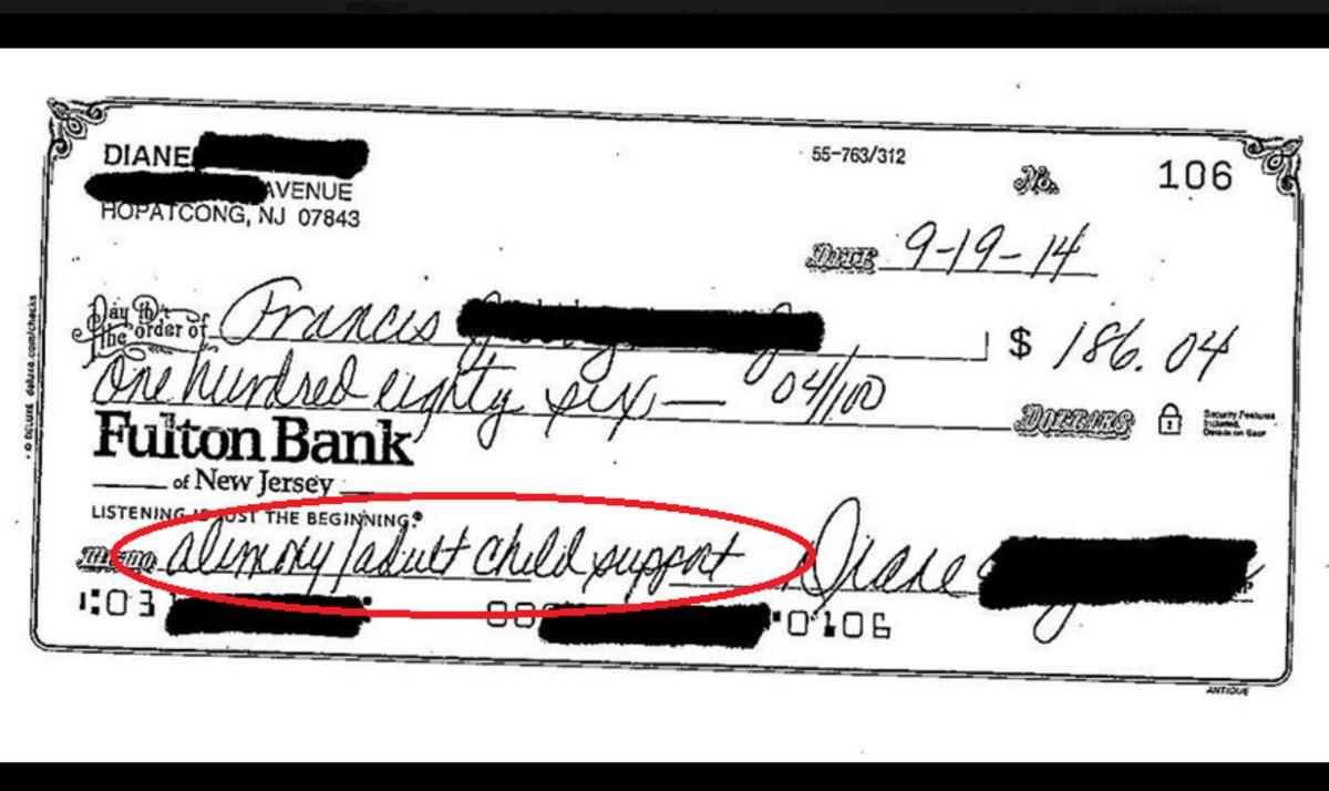 one of Diane Wagner's alimony checks