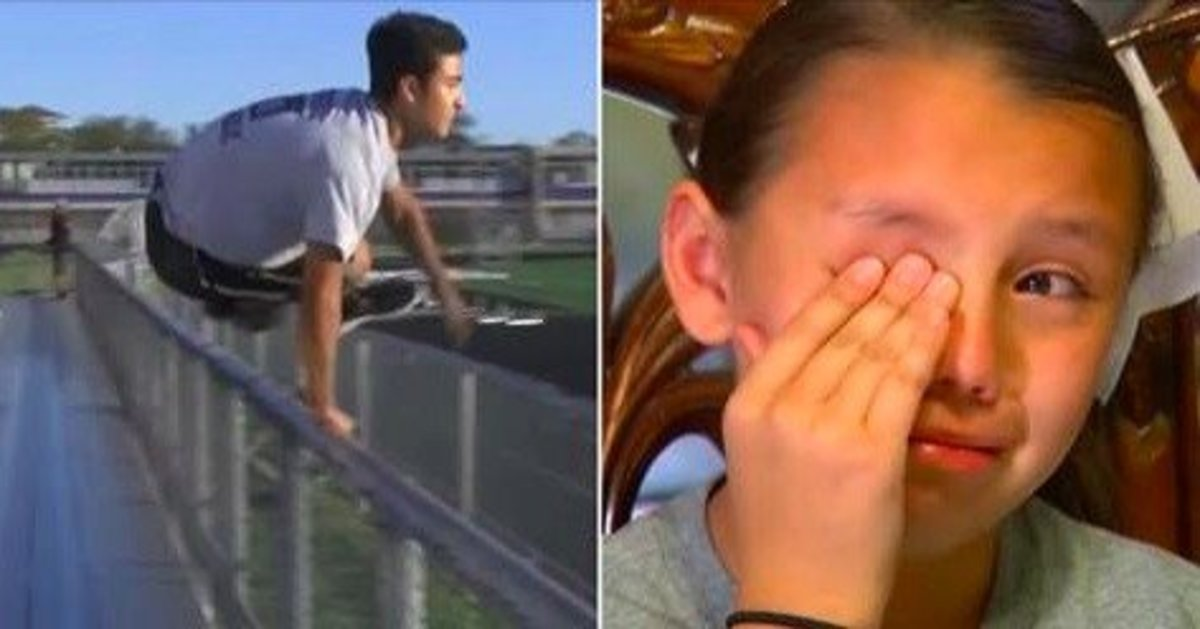 Cheerleader Cries During Daddy-Daughter Cheer Because Dad's Overseas, Then Stranger Hops Fence Promo Image