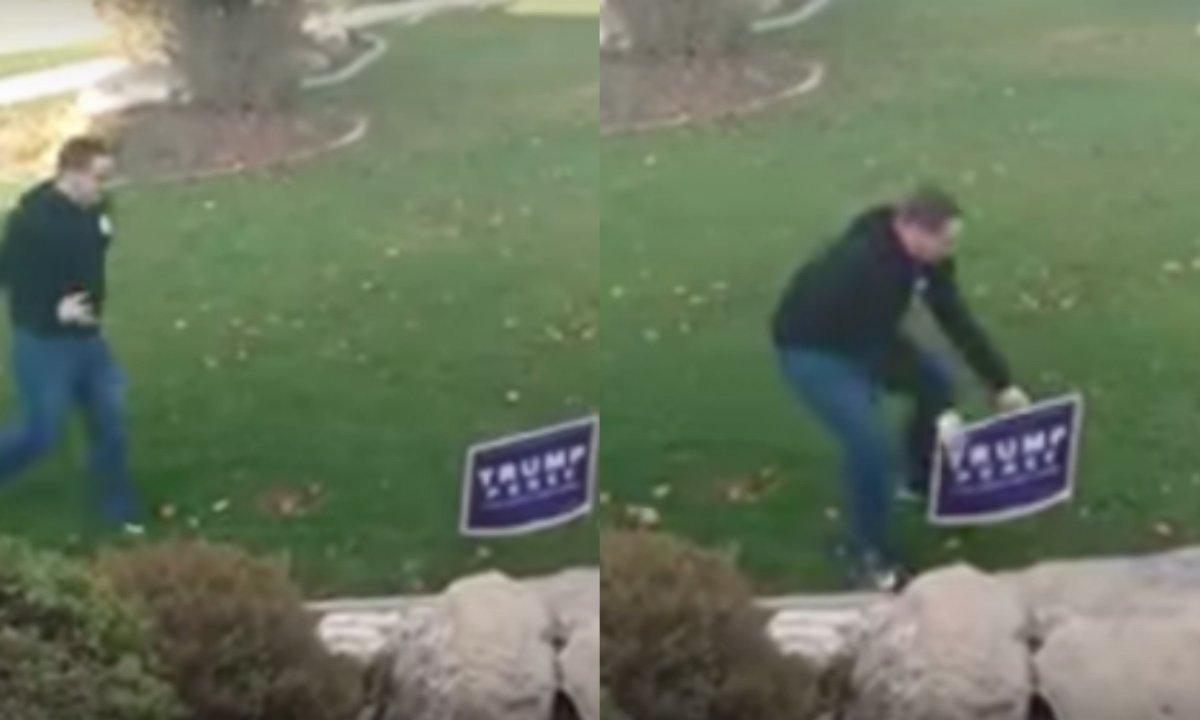 Hillary Supporter Tries To Steal Trump Sign, Trump Supporter Shows Him Why That's A Bad Idea (Video) Promo Image