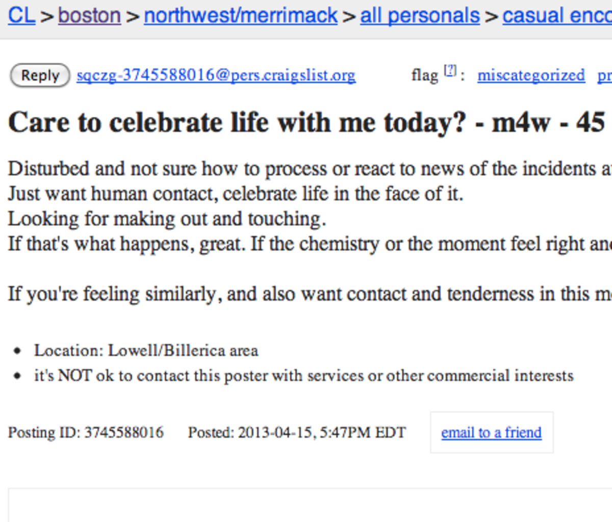 People In Boston Place Sex Ads On Craigslist Org Using The Bombing