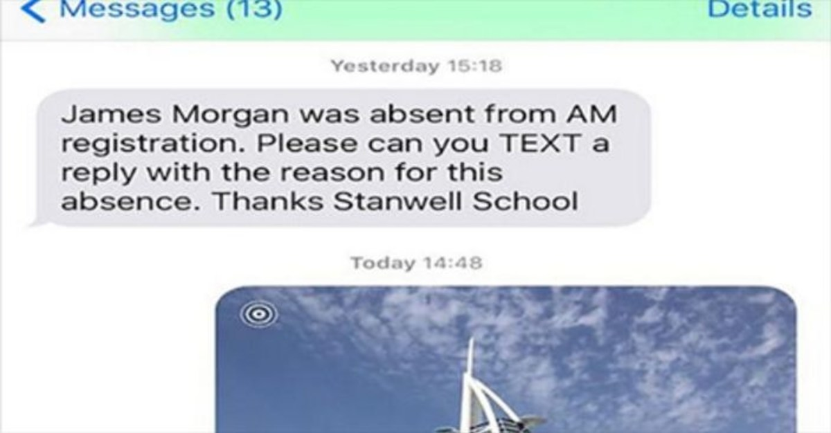 Father Text Messages School Photo To Explain Son's Absence