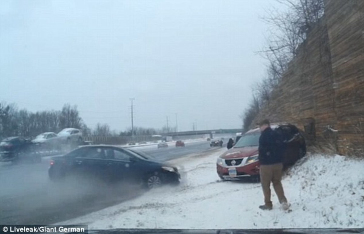 Dashcam Records Woman Getting Struck By Car On Icy Highway