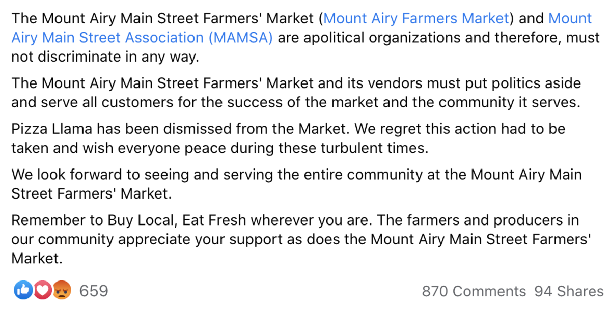 Photo Credit: Facebook/Mount Airy Farmers Market